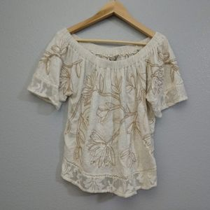 Lucky Brand Small Off Shoulder Cream Lace Blouse